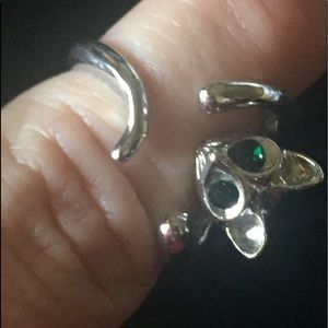 Cat ring with green eyes sz 8